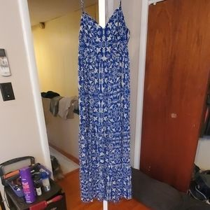 Blue and white birds flowers maxi dress